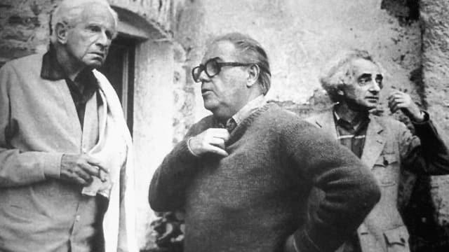 Herbert Marcuse, Max Frisch und Theo Pinkus im Jahre 1976.