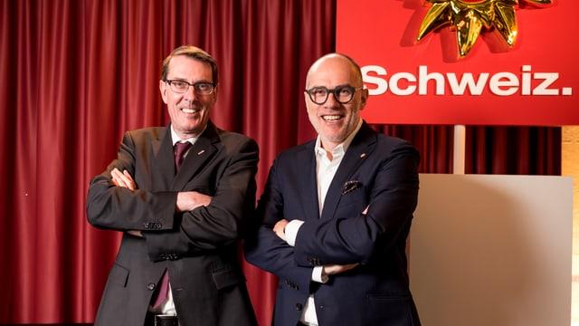 Andreas Züllig, president da hotelleriesuisse e Jürg Schmid da Svizra Turissem