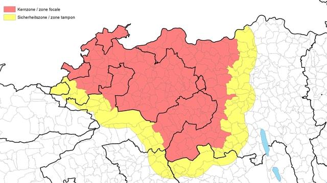 Karte Kanton Solothurn mit roten und gelben Markierungen