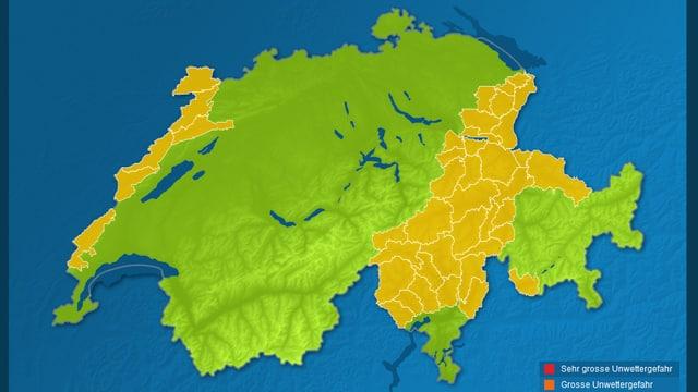 Die Warnkarte zeigt, die Gebiete vom Nordtessin über die Gotthardregion, Glarner und St. Galler Alpen, Alpstein und Teil von Graubünden sind vom Regen besonders betroffen.