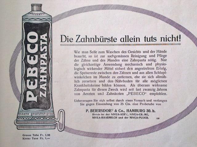 Inserat aus Schweizer Illustrierten: Zahnpasta Pebeco
