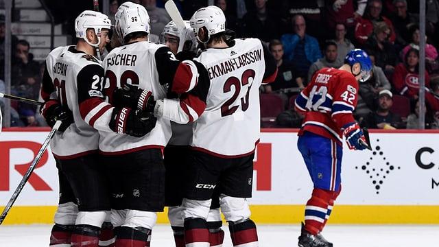 Arizona-Spieler umarmen sich auf dem Eis.