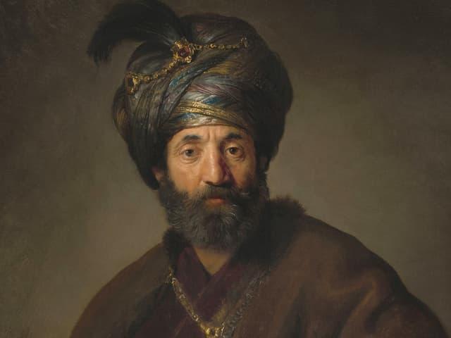 """Oberer Teil des Bildes """"Mann in orientalischem Kostüm"""" von Rembrandt"""