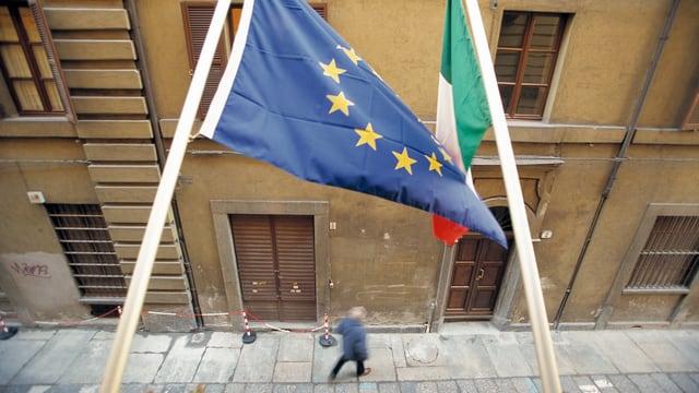 EU- und Italien-Fahne.