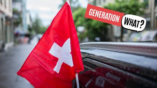 Purtret d'ina bandiera svizzra vid in auto nair.