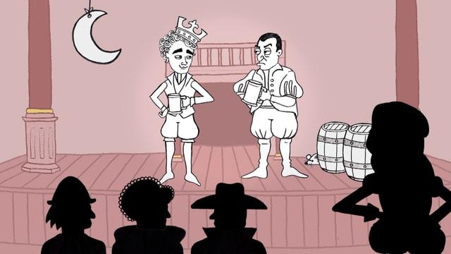 Ausschnitt aus einem Theaterstück animiert.