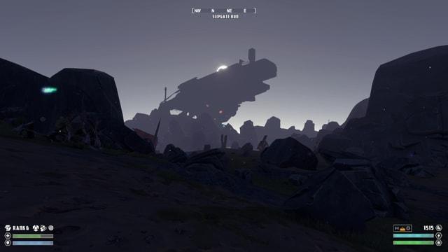 Ein Raumschiff am Horizont, die Sonne geht dahinter auf.