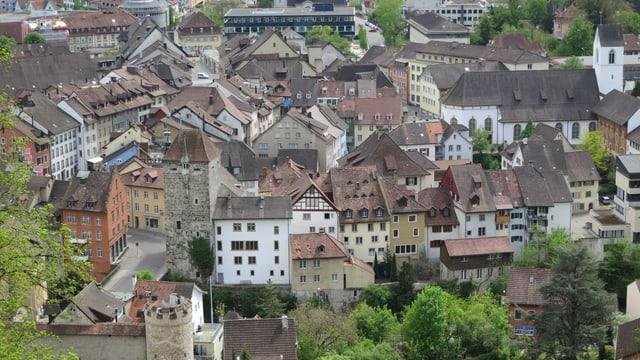 Blick auf die Stadt Brugg vom Bruggerberg.