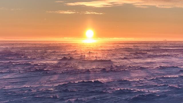 Die sonne scheint flach über das eis der Antarktis.