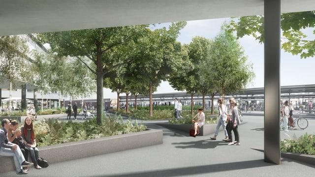 Modell des neuen Bahnhofplatzes Pratteln mit grünen Inseln und Bäumen.