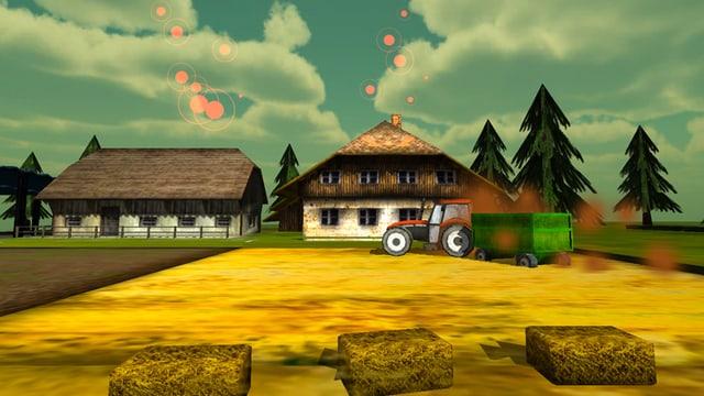 Ein Screenshot des Spiels Emission Impossible zeigt einen Traktor auf einem Bauernhof