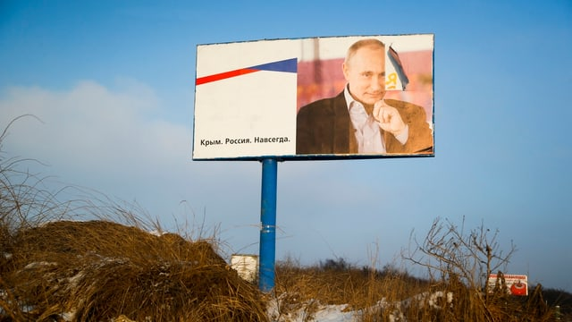 Putin-Plakat auf der Krim