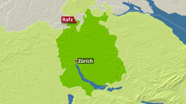 Karte des Kantons Zürich mit einem Eintrag bei Rafz.