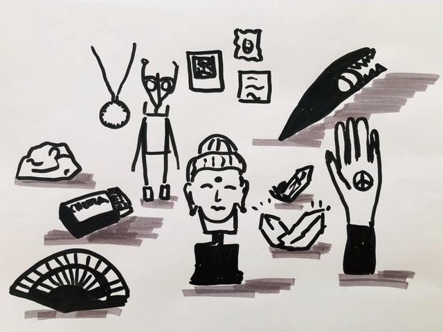 Dreizehn Gegenstände die Quichotte immer in seinem Rucksack dabei hat.