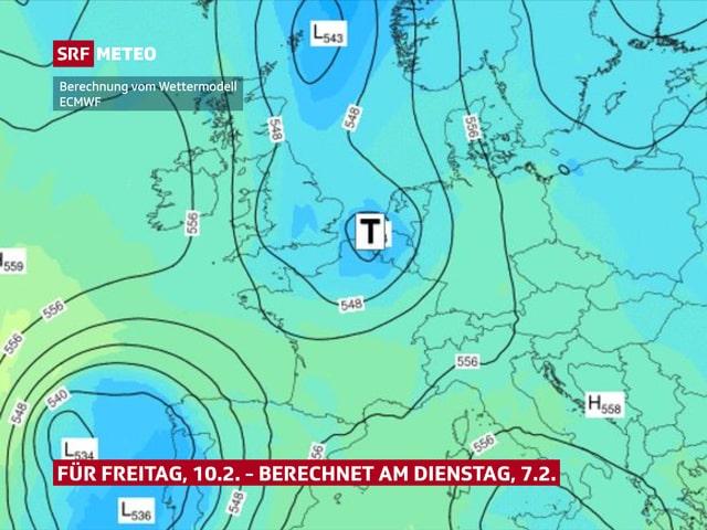 Karte von Europa mit Linien um Hochs und Tiefs.