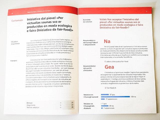 Duas paginas dal nov cudeschet da votaziun.