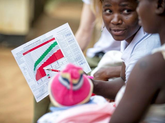 Eine Frau in Tansania hält ein Papier mit Statistiken drauf.