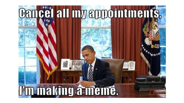 Dem US-Präsidenten werden die Worte in den Mund gelegt: «Sagen Sie alle Termine ab. Ich mache ein Mem.»