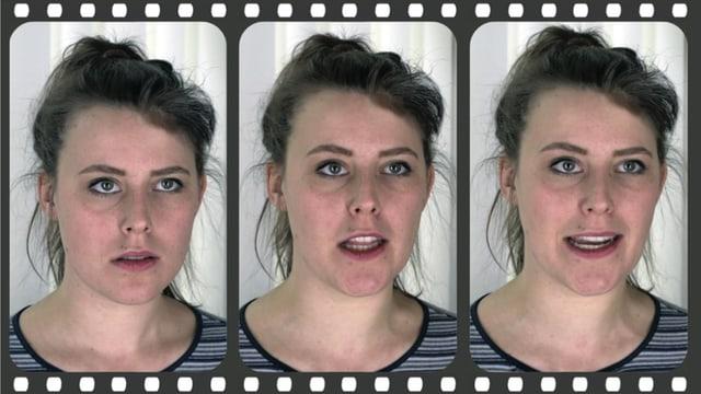 Frau mit verschiedenen Gesichtsausdrücken