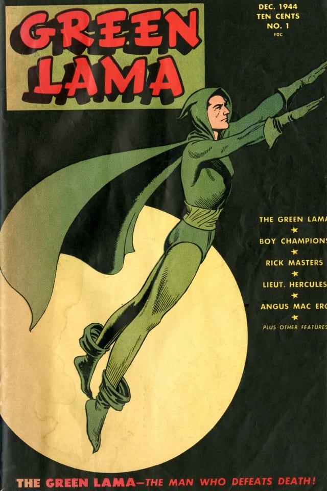 Cover des Comics: Superheld mit grünem Anzug und Cape.
