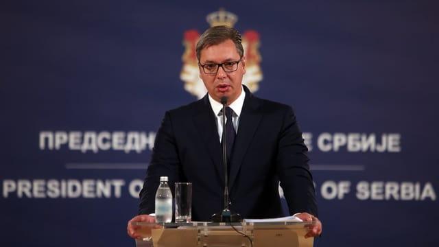Der serbische Präsident Aleksander Vucic in einer TV-Sendung.