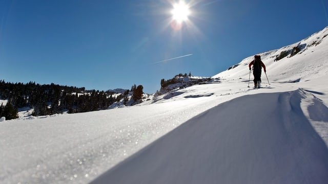 Schneeschuhwanderer im Toggenburg.