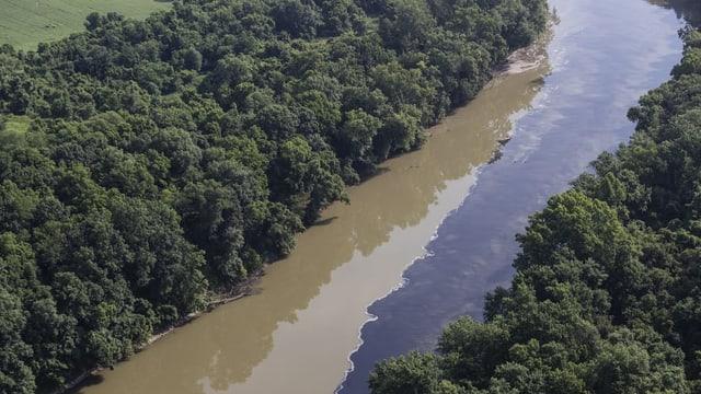 Dunkle Flüssigkeit in einem Fluss