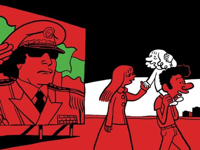 Zeichnung: Eine Frau und ein Mann gehen an einem Plakat mit dem Bild von Gaddafi vorbei. Der Mann trägt ein Kind auf den Schultern.