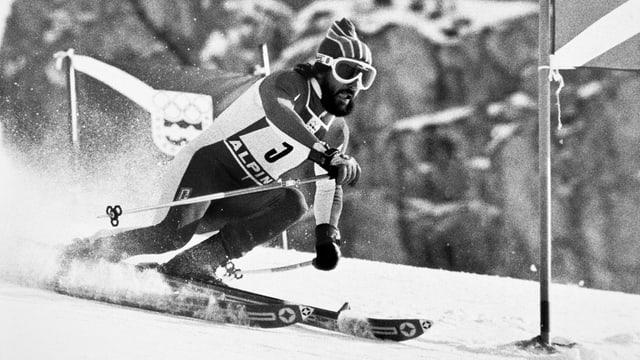Heini Hemmi durant sia cursa olimpica il 1976 ad Innsbruck.