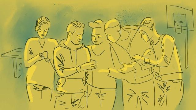 eine Illustration von Jugendlichen auf dem Pausenplatz. Ein Handy wird herumgereicht