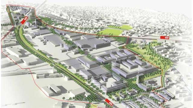 Plan des neuen Stadtgebiets Neuhegi