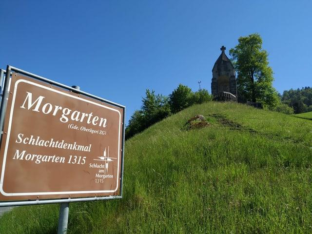 Schild mit Beschriftung Morgarten unterhalb eines Steindenkmals.