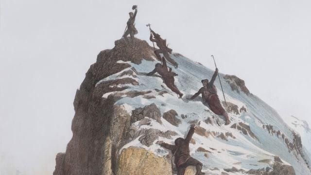 Historische Zeichnung: Bergsteiger am Gipfel eines berges