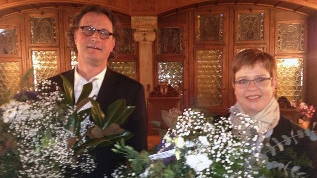 Geri Müller und Ruth Müri im Tagsatzungssaal in Baden, gleich nach der Bekanntgabe der Wahlresultate.