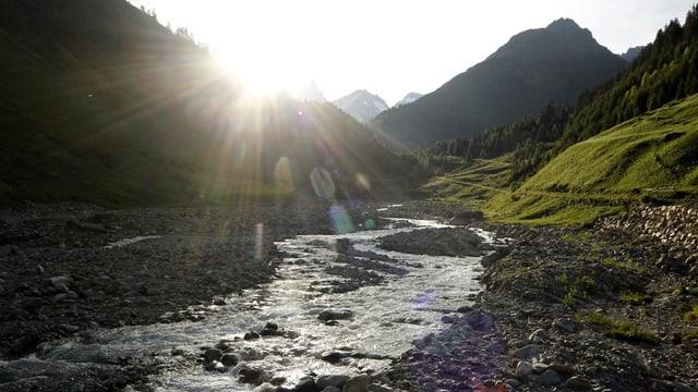 Fluss mit wenig Wasser.