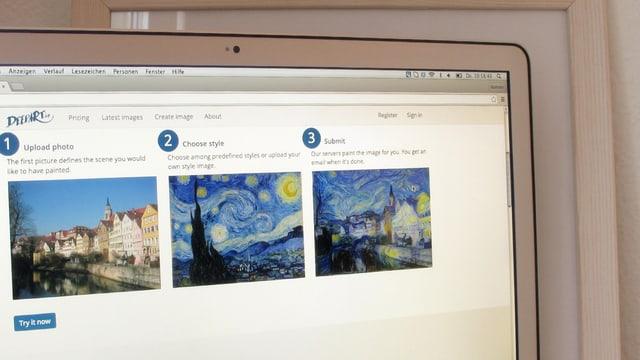Ein Screenshot der Seite «DeepArt».