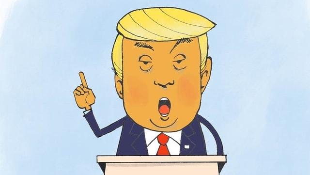 Ein Traum in Gelb und Orange: Donald Trump am Rednerpult.