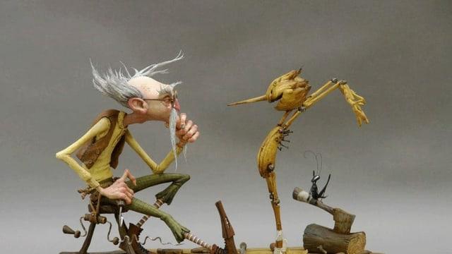Holzpuppe und alter Mann, Animation