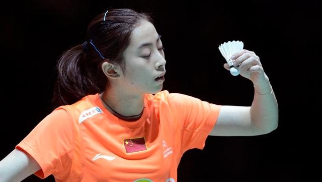 Die Siegerin  Shixian Wang beim Anspiel.