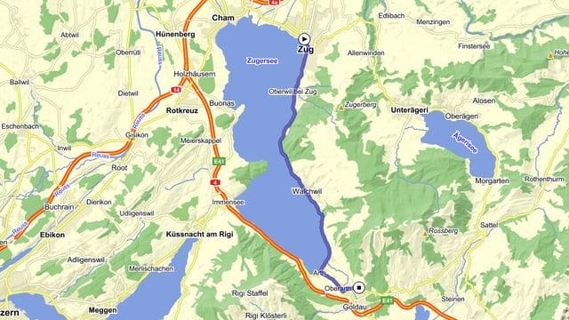 Eine Karte von Zug, Arth Goldau und Rothkreuz.