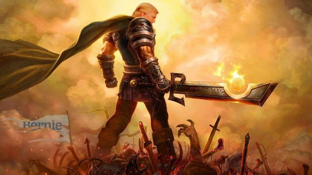 Eine Fotomontage mit Donald Trump in einer mächtigen Rüstung und riesigem Schwert in der Hand auf einem Schlachtfeld stehen.