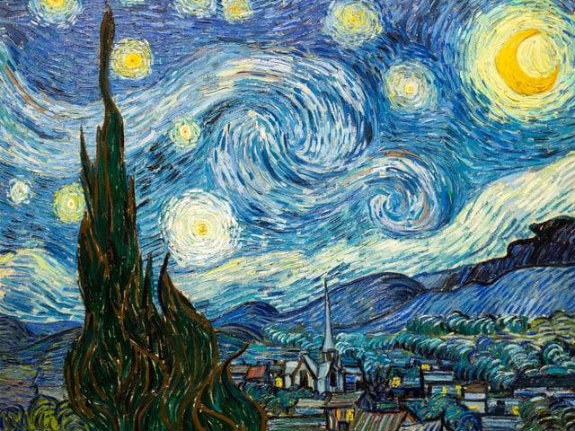 Sternennacht von Vincent van Gogh: Gemälde einer Stadt, in Blau und Gelb gehalten.