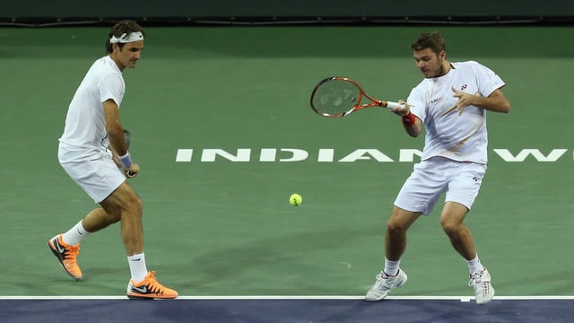 Federer und Wawrinka im Doppel.