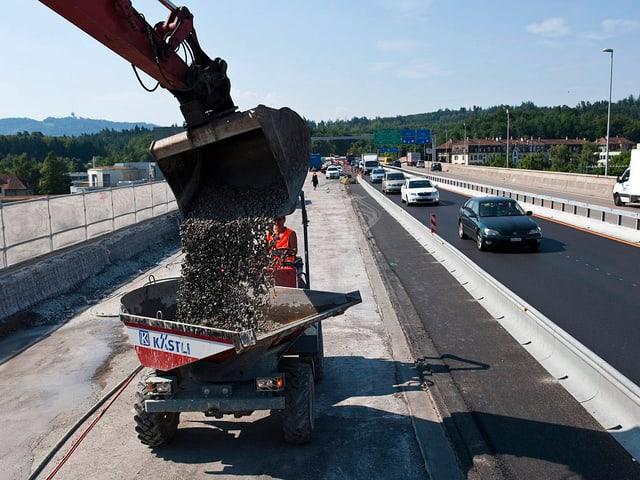 Baustelle auf Autobahn