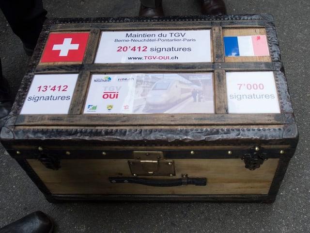 Eine Kiste mit 20'000 Unterschriften.