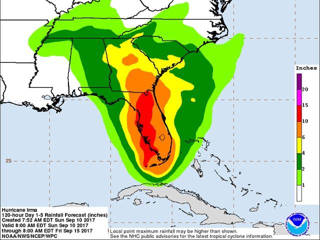 Eine Karte von Florida mit den Regenmengen