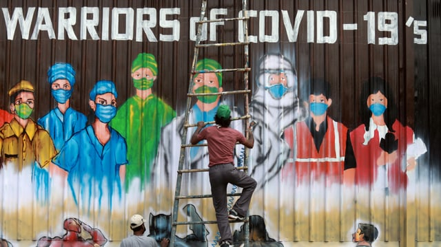 Wandmalerei in New Delhi