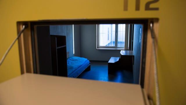 Eine leerstehende Zelle in der Haftanstallt in Palézieux