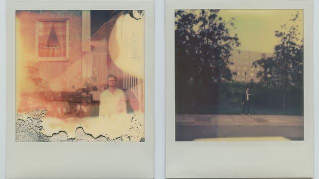 Zwei Polaroidfotos zeigen den Autor in einer ostdeutschen Plattenbausiedlung.