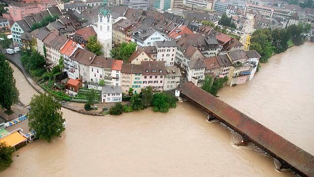 Auch die Stadt Olten soll dank des neuen Projektes in Zukunft besser vor Aare-Hochwasser geschützt sein.